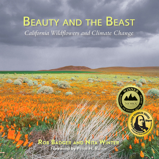 Beauty and the Beast California Wildflowers and Climate Change book cover with fields of orange California poppies with dark storm clouds overhead.