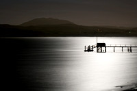 Black Mountain and Silhouette of dock against full moonlight reflected on Tomales Bay_Marin County_California_USA_S2P0481_Rob Badger