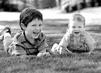 Brothers on the Lawn_black and white