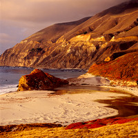 Sunset light on cliffs above beach at mouth of Little Sur River_Big Sur Coast_California_Rob Badger