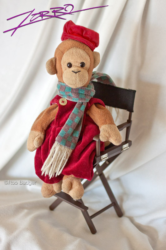 Zorro's autographed photo: Beanie Baby monkey in director's chair. He is dressed in red overalls and hat with a turquoise checkered scarf.