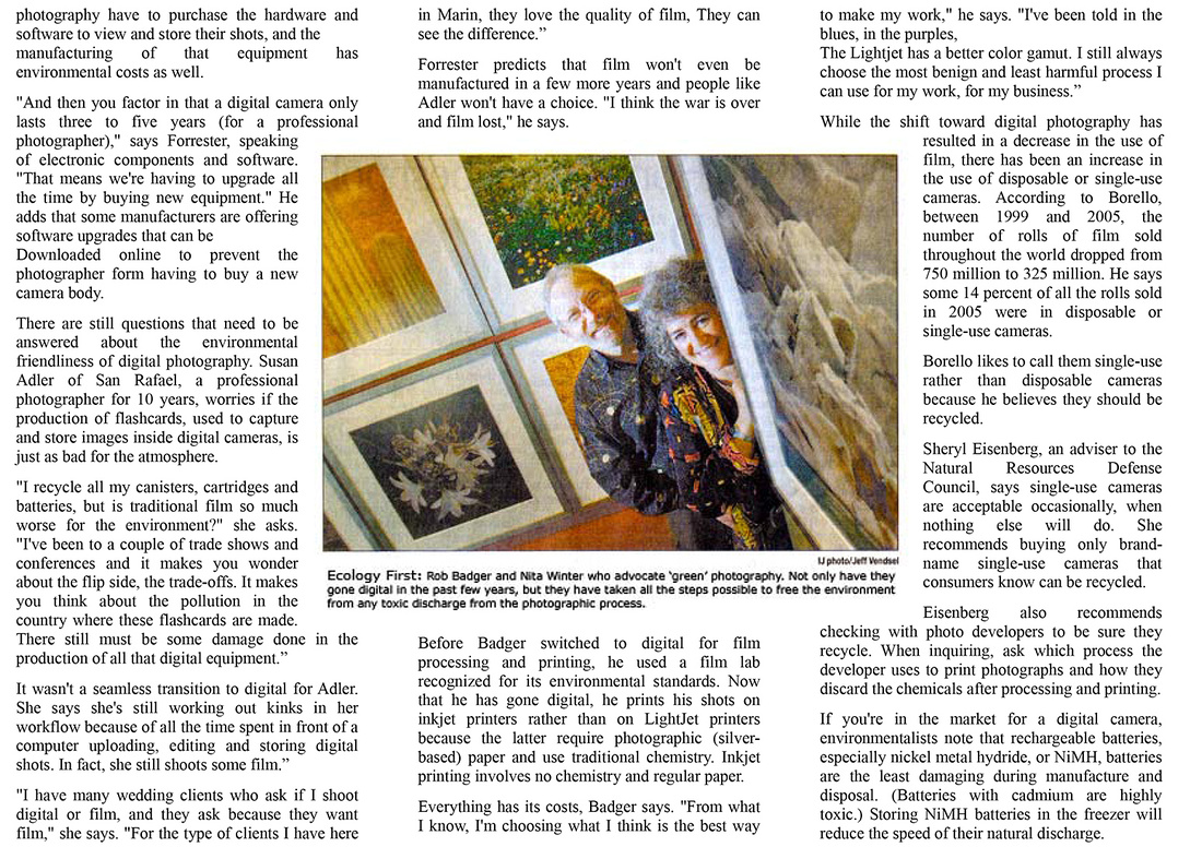 Article in the Marin Independent Journal on green photographers Rob Badger and Nita Winter.