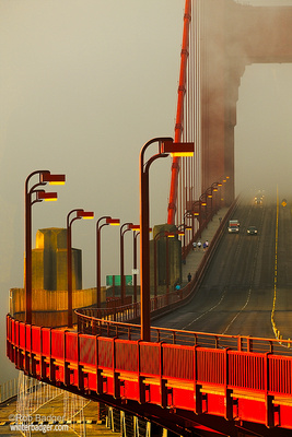 Golden Gate Bridge, San Francisco, San Francisco Bay, traffic, runners, sunrise, fog, landscape, telephoto, Rob Badger Photography, Marin County